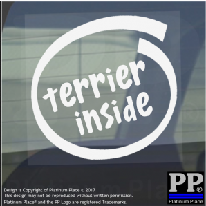 1 x Terrier Inside-Window,Car,Van,Sticker,Sign,Adhesive,Dog,Pet,On,Board,Border